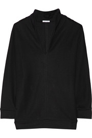 Shawl-collar fleece sweatshirt