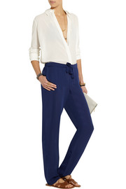 Silk-crepe tapered pants
