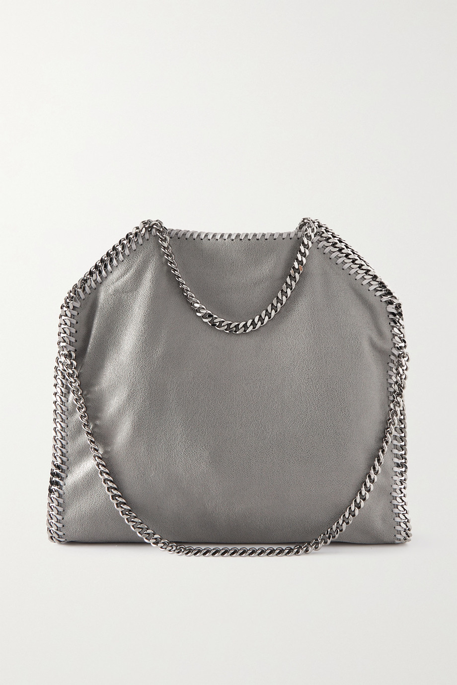Stella Mccartney The Falabella Medium Faux Brushed-Leather Shoulder Bag, Light Gray, Women's, Size: One Size