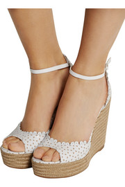 Tabitha Simmons Harp perforated leather espadrille wedge sandals
