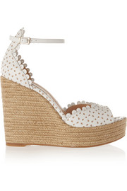 Harp perforated leather espadrille wedge sandals