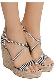 Tabitha Simmons Jenny striped silk wedge espadrilles