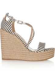 Jenny striped silk espadrille wedge sandals