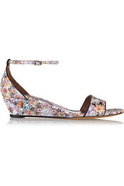 Juniper floral-print leather wedge sandals