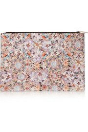 Large floral-print textured-leather pouch
