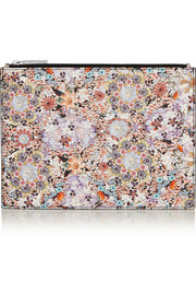 Tabitha Simmons Small floral-print textured-leather pouch