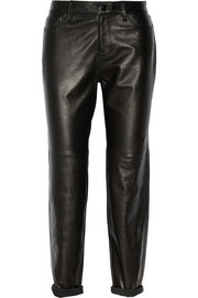 J Brand Casey stretch-leather boyfriend pants