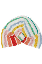 Striped crochet-knit turban