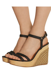 Snake-effect leather wedge espadrilles