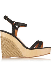 Lanvin Snake-effect leather wedge espadrilles