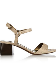 Lizard-effect leather sandals