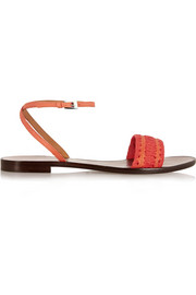 Grosgrain-trimmed textured-leather sandals