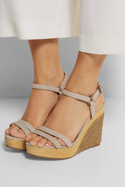 Lanvin Snake-effect leather wedge sandals