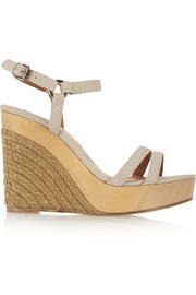 Snake-effect leather espadrille wedge sandals