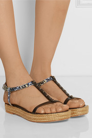 Embellished snake-effect leather sandals
