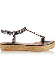 Embellished snake-effect leather espadrille sandals