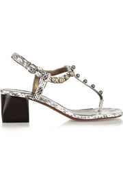 Studded elaphe sandals