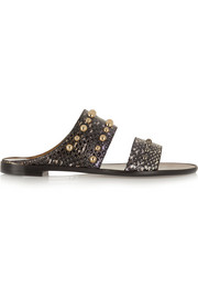 Lanvin Studded elaphe slides