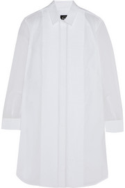 Silk chiffon-paneled cotton-poplin shirt dress