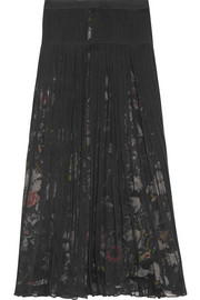 Pleated silk-chiffon midi skirt