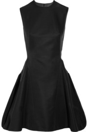 Pleated duchesse-satin mini dress