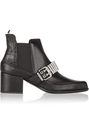 McQ Alexander McQueen Embellished textured-leather Chelsea boots