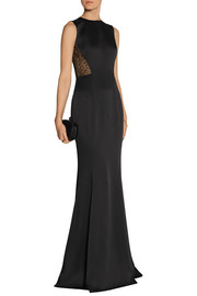 Jason Wu Lace-paneled satin-crepe gown
