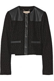 Wool-bouclé and leather jacket