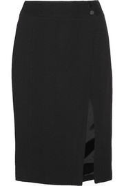 Wrap-effect crepe pencil skirt