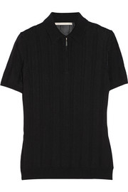 Ribbed-knit polo shirt