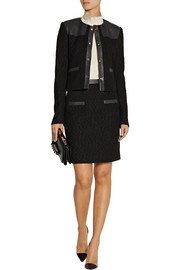 Jason Wu Leather-trimmed wool-bouclé skirt