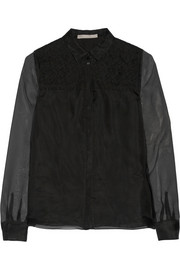 Lace-trimmed silk-organza shirt