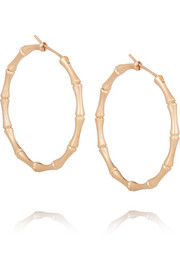 18-karat rose gold bamboo hoop earrings