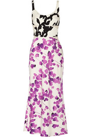 Narciso Rodriguez Floral-print stretch-silk midi dress