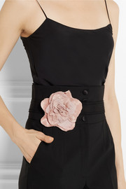 Flower-embellished grosgrain belt