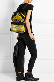 Versace Leather-trimmed printed sateen backpack