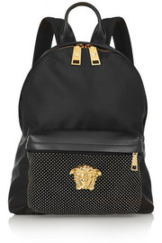 Studded leather-trimmed satin-shell backpack