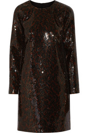 Sequined satin mini dress
