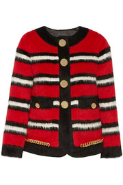 Striped llama and wool-blend jacket