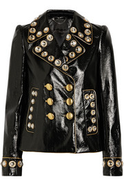 Embellished patent-leather jacket