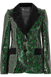 Velvet-trimmed sequined blazer