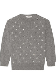 Embellished wool and cashmere-blend sweater