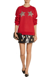 Embellished patent-leather mini skirt