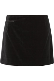 Silk satin-trimmed velvet mini skirt