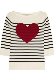 Sequined striped cotton-blend sweater