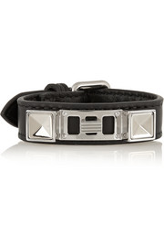 PS11 leather and silver-tone bracelet