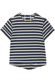Adam Lippes Split-back striped cotton top