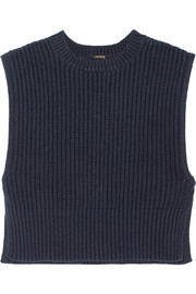 Ribbed silk and cashmere-blend top