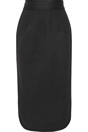 Satin-trimmed stretch-wool pencil skirt