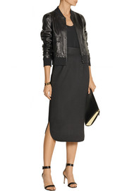 Adam Lippes Satin-trimmed stretch-wool pencil skirt